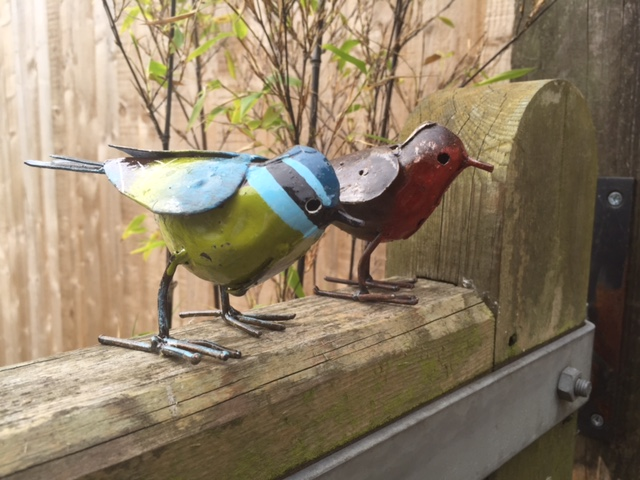 Robin & Blue Tit Metal Birds (special web price)